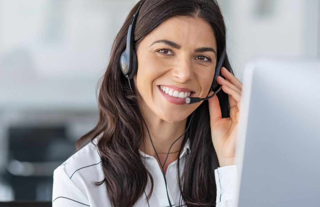 Woman working at call center